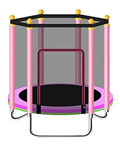 Trampolino Tappeto Elastico Giardino Rete di Sicurezza Pali ad Arco Ricoperti Rimbalzo Letto di Protezione del Bambino Cintura di Sicurezza Letto di Salto,Pink