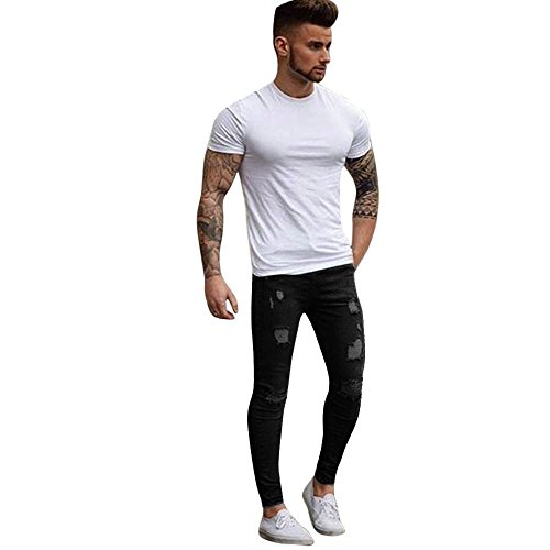 Celucke Herren Jeans Hose,Stretchy Ripped Skinny Biker mit Destroyed Taped Schlank Passen Denim Hosen