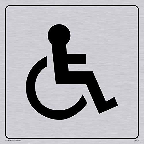Viking Schilder DV1030-S15-SV Behinderten-WC Symbol - Hinweisschild Toilettentür, positiver schwarzer Text mit Bordüre, Aufkleber Vinyl Silber, 150 mm x 150 mm