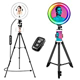 Selfie Ring Light con soporte-14 Colores RGB TikTok Light Camera Kit de iluminación para fotografía con los 10 Niveles de Brillo Luces LED Regulables para Youtube, Vloggers de Artistas (10')