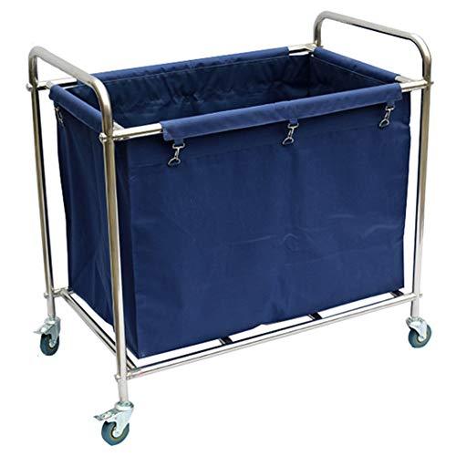 Carro de Servicio Carro de lavandería con Marco de Acero Inoxidable y Bolsa Oxford extraíble, 4 Ruedas y manija, fácil de Instalar (Color : Azul)