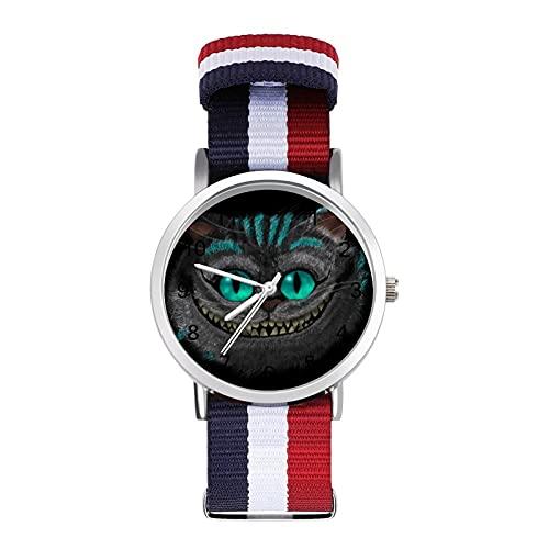 Grinsekatze Film-Uhr Glas Spiegel Skala Geflochtene Gürtel Uhr Casual geeignet für Büro Schule Männer und Frauen Geschenk