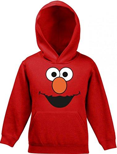 ShirtStreet Fasching Karneval Verkleidung Kinder Kids Kapuzen Hoodie - Pullover mit Red Monster Motiv, Größe: 128,Rot