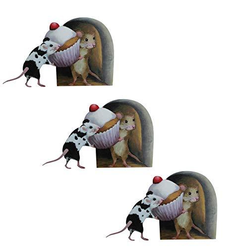 HINK Papel Pintado de la Etiqueta engomada de la Pared del Agujero del ratón con calcomanías de la Magdalena Decoración de la Esquina de la Pared, decoración del hogar del día de San Valentín