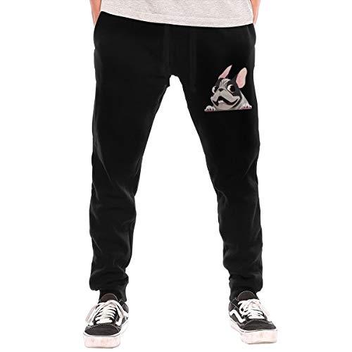 BibiQQgait Mens Jogger Sweatpants French Bulldog Drawstring Lounge Pants Black