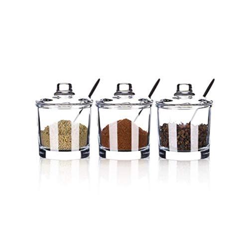 SMEJS Glas Gewürzglas-Küche Gewürzkasten Kleines Glas Kanister mit Deckel, Klar Gewürz-Gläser-Set von 3