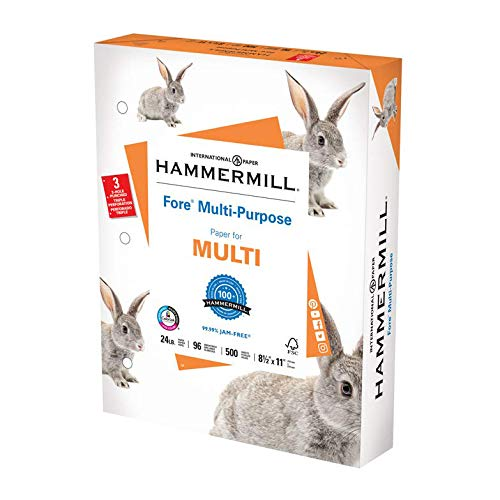 Hammermill Printer Paper, Fore Multipurpose 24 lb Copy Paper, 3 hole - 1 Ream (500 Sheets) - 96 Bright, Made in the USA