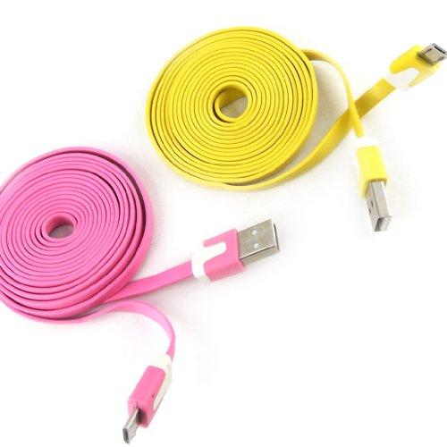 Les Trésors De Lily [K9290-2 Cables USB téléphones 'Coloriage' Rose Jaune (2m)