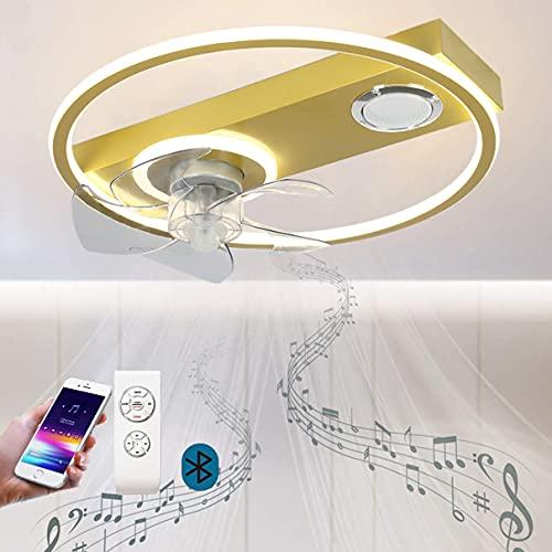 Lámpara de Techo Altavoz Bluetooth para Dormitorio LED Music Ventiladores de Techo con Lámpara y Control Remoto Regulable Moderna Circular Luz del Ventilador para InfantilDormitorio Salón Ø50CM