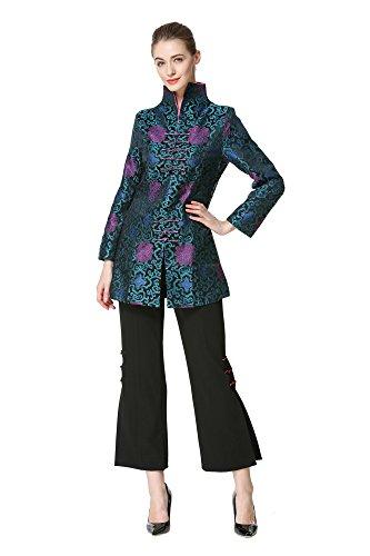 Bitablue Women's Chinese Brocade Standup Collar Jacket (Medium)
