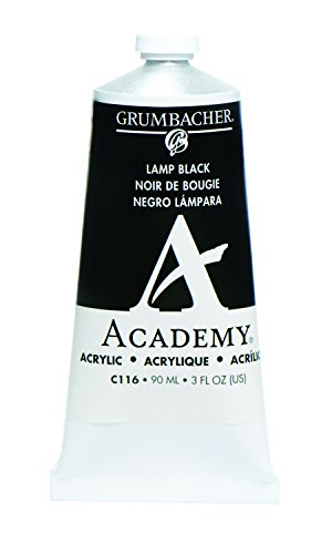 Grumbacher Academy Acrylic Paint, 90ml/3 oz Metal Tube, Lamp Black