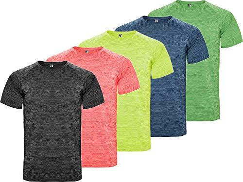 13MW Camiseta Deporte Hombre | Pack 5 | Tejido técnico Profesional | Transpirable | Running, Fitness, Fútbol, Padel | Manga Corta (Combinación 3, S)