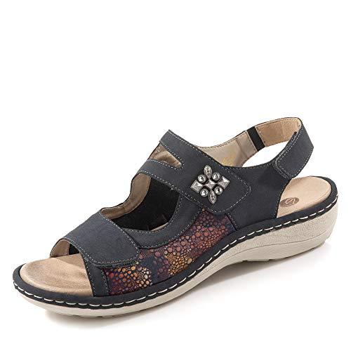 Remonte D7647-14 Damen sportive Sandale aus Nubukleder Hallux-Valgus-Funktion, Groesse 38, blau