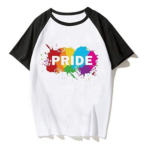 Miwaimao Été Marée Modèles Gay Amoureux Manches Courtes Raglan Respect Sujet Transgenre Confortable Respirant Élastique Col Rond Lâche - - XXL