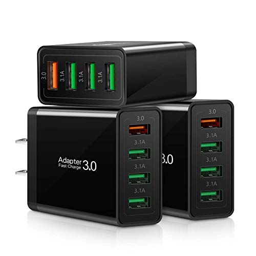 Fast 3.0 Wall Charger, 3-Pack iSeekerKit 4 Ports USB Wall Charger Adapter Fast USB Charging Block Compatible Wireless Charger, Samsung Galaxy S9/S8 Note 8/9, iPhone, Pad, Tablet and More-Black