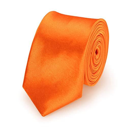 StickandShine Krawatte Orange slim aus Polyester einfarbig uni schmale 5 cm