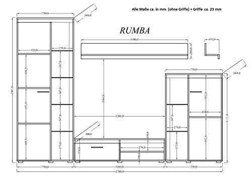 Wohnwand – Holz Anbauwand TV-Board mit Standvitrinen Bild 3*