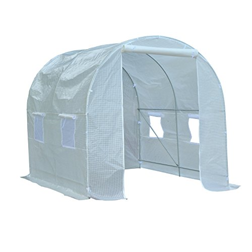 Outsunny 2.5 x 2 x 2 m Large Galvanized Steel Frame Outdoor Poly Tunnel Garden Walk-In Patio Greenhouse - White