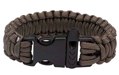 JUSTDOLIFE Paracord Planet Survival Outdoor Emergency Fluitje Sterke Armband (Zwart) Koffie