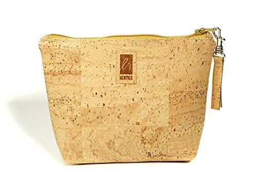 HENTIES Designer Kosmetik Tasche - Damen Kosmetiktasche aus Korkstoff mit Reissverschluss - Accessoires aus Kork & Stoff - 100% Vegan (Kosmetiktasche)
