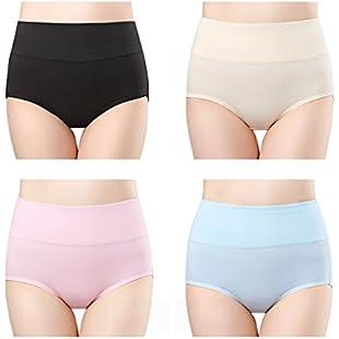 wirarpa 4 Pack Ladies Underwear Cotton Full Briefs High Waist Knickers Tummy Support Underwear Panties for Women Size 8-10