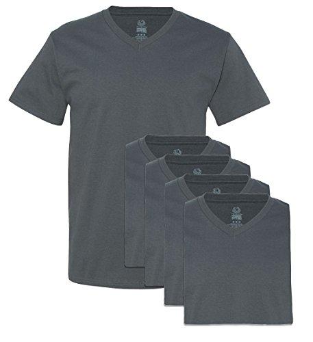 Fruit of the Loom Camiseta con cuello en V para hombre (paquete de 5) - gris - X-Large