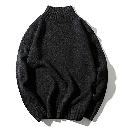 Fashion Oversized Knitted Sweater Men Ribbed High Collar Cut