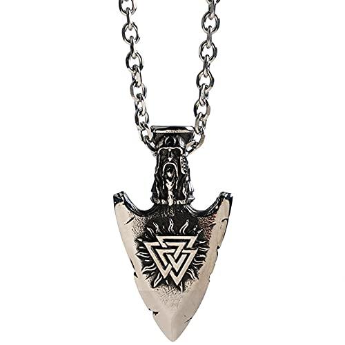Serired Viking Titanium Steel Vegvisir/Valknut - Collar Pareja 2 Piezas, Amuleto con Colgante Guardián Punta Lanza Retro Nórdico, Regalos de San Valentín para Hombres y Mujeres,Plata