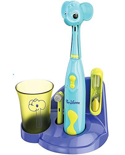 Pure Enrichment Brusheez(ピュアエンリッチメント ブラッシーズ) 電動歯ブラシセット 子供用 柔らかめ 簡単プレスボタン ー 2ブラシヘッド、かわいい動物歯ブラシカバー、砂時計、ゆすぎコップ、歯ブラシスタンドセット