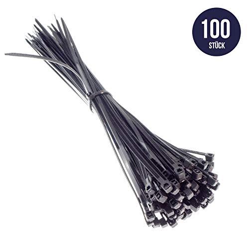 Premium Kabelbinder in Schwarz (100 Stück, 300mm x 3,6mm) UV, Hitze und Kältebeständig, Extra Stark, Geprüfte Qualität