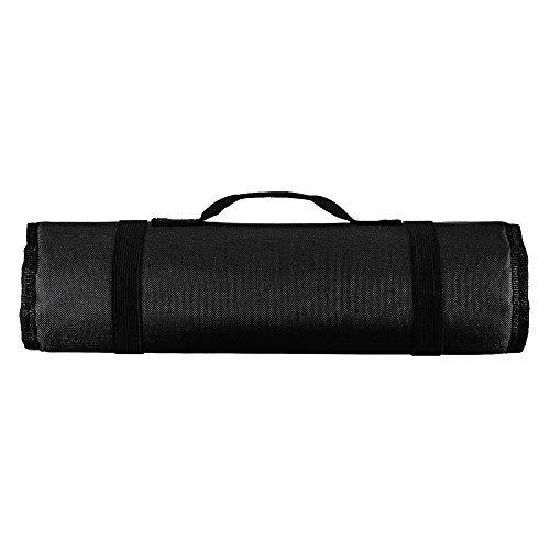 Bolsa de herramientas con 22 bolsillos portátil de almacenamiento en rollo plegable llave alicates bolsa bolsa para reparadores Chef (negro)