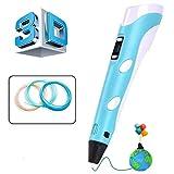 AeYui - Bolígrafo 3D con pantalla LED inteligente y temperatura regulable/velocidades, 3D profesional compatible con filamento PLA/ABS, regalo perfecto para niños y adultos (azul)