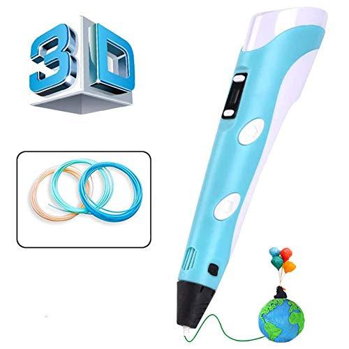 AeeYui - Penna 3D con display LED intelligente e temperatura regolabile / velocità, 3D professionale Pen compatibile con Filamento PLA/ABS, regalo perfetto per bambini e adulti, colore: blu