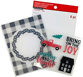 Recollections Christmas Embossing Folder & Stamps, Bring on The Joy