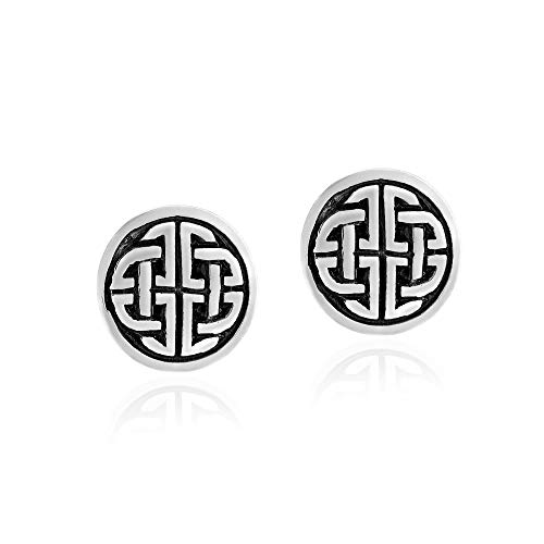 Round Framed Quaternary Celtic Knots .925 Sterling Silver Stud Earrings