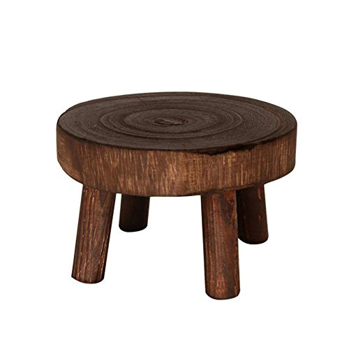Develoo Wood Plant Riser Stands,Mini Round Stool Bonsai Holder Potted Display Shelf for Office Dining Room Indoor Outdoor Decor