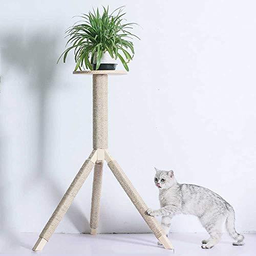 ZXvbyuff Kratzbaum, Katzenklettergerüst Topf Dekoration Rattan Cat Claw Säule Katzenbedarf Massivholz Sisalseil Säule Kratzbaum