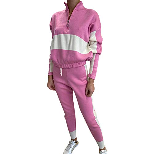 Damen-Trainingsanzug-Set, langärmelig, Farbblock-Patchwork, zweiteilig, Outfit, Workout, Jogging, Sportbekleidung Gr. 34-36, rose