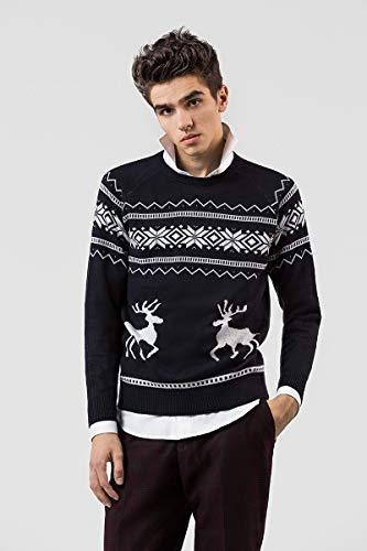 PAWO Męskie swetry świąteczne uniseks sweter z długim rękawem sweter świąteczny prezent z tradycyjną bluzą renifera