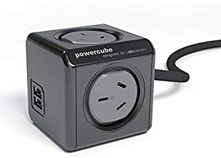 Allocacoc Powercube Extended 4 Outlets with 2 USB - 3M Black