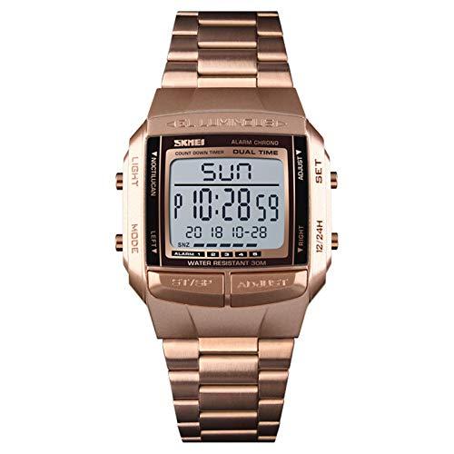 JTTM Reloj De Pulsera Digital para Hombre De Acero Inoxidable, Resistente Al Agua, con Función De Temporizador Y Cronógrafo,Rose Gold