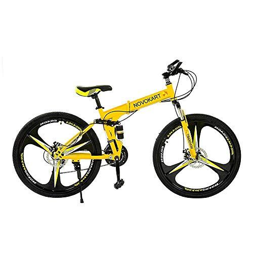 DOMDIL- Bicicletas Montaña Plegables, Mountain Bike Unisex, 24 Pulgadas, MTB para Hombre/Mujer, Freno Doble Disco, 3 Cortadores, 21 Velocidad de Cambio, Amarillo