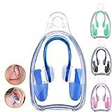 BHGWR 4 Set de Pinzas de Nariz y Tapones para los oídos para Natación, Tapones de Silicona Suaves y Tapones para los oídos para Adultos niños (Negro/Rosa/Verde/Azul)