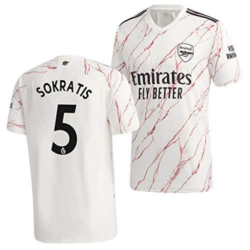 L-Shop Sokratis Papastathopoulos Arsenal Weiß,Maillot Sokratis Papastathopoulos Trikot 2020/21 für Herren & Jungen(Weiß,XXL)