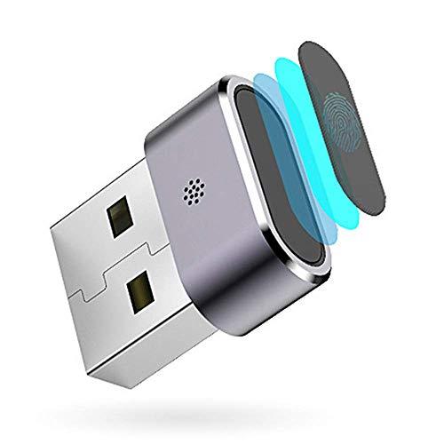 Mouwa Lettore di Impronte Digitali Mini USB, Chiave di Sicurezza Biometrica Chiavetta USB Portatile Impermeabile per Windows7 Windows8 Windows8.1 Windows10 Grigio-Sistema