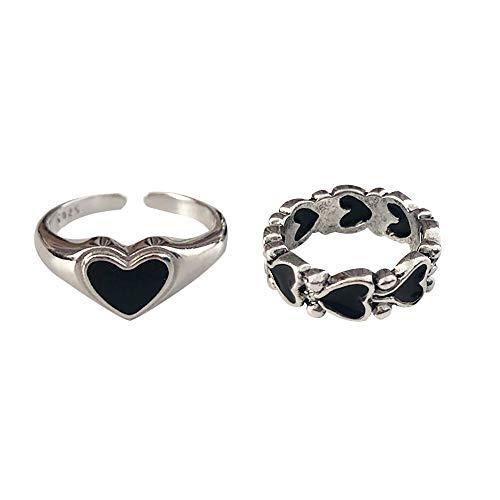 Gothic Vintage Ring Set Black Heart Stackable Statement Retro Punk Open Knuckle Finger Ring for...