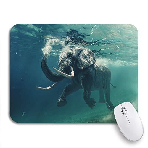 Gaming Mouse Pad Schwimmen Elefant Unterwasser Afrikaner in Ozean Spiegel und Wellen Rutschfeste Gummi Backing Computer Mousepad für Notebooks Maus Matten