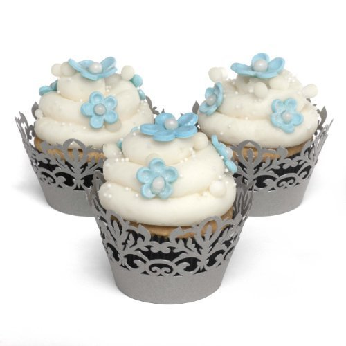Hortense B. Hewitt Wedding Accessories Silver Decorative Cupcake Wraps, 25 Count by Sourced Wit