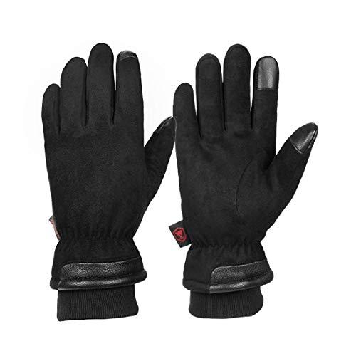 Guantes de esquí 100% impermeables, guantes de invierno – 34.4 °C, cálidos, resistentes al viento, con pantalla táctil, guantes de piel de ante frío, guantes de conducción, ciclismo, mensajes de texto