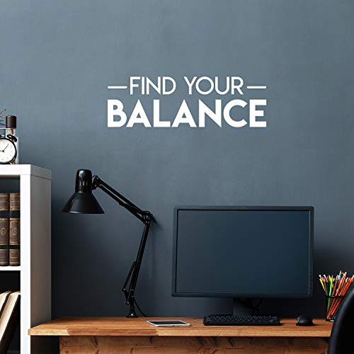 "Vinyl Wall Art Decal - Find Your Balance - 8"" x 25"" - Modern Inspirational Positive Quote Sticker for Bedroom Living Room Home Work Office Coffee Shop Yoga Class Decor (White)"